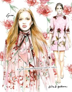 Illustrated Fashion story for Elle China Do you like my tight sweater ? - Caroline Andrieu