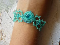 Tatted bracelet in teal with beads by MJsflowerfield on Etsy