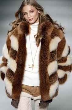 Stripy fox fur jacket