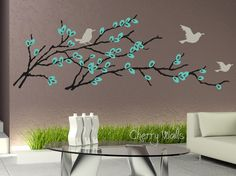 Pussy Willow Wall Decal Blossoming Branch Catkins by CherryWalls, $62.00