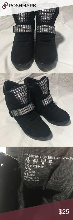 Studded Black Sneaker Wedges NWOT NWOT Features a velcro strap and also has shoelaces ( they're inside for the pictures ) perfect condition, selling because I never wore them  Feel free to make me offers! SM New York Shoes Heeled Boots