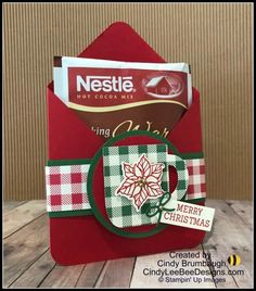 Stampin' Up Cup of Christmas Hot Cocoa Holder Video Tutorial Christmas Craft Fair, Stampin Up Christmas, Christmas Paper, Christmas Projects, Holiday Crafts, Chocolate Card, Hot Chocolate, Christmas Gift Card Holders, Candy Crafts