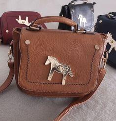 Brown Retro Golden Horse Decorated Single-shoulder PU Bag