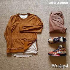 Today's top #outfitgrid is by @wuflavored. ▫️#Zara #Sweater ▫️#OnTheByas #Tee ▫️#Zanerobe #Pants ▫️#JordanV x #Supreme #flatlay #flatlayapp #flatlays
