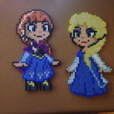 Anna and Elsa - Frozen perler beads by justbeadit21