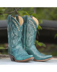 Justin Women's Turquoise Damiana Cowgirl Boot - L4302 http://www.countryoutfitter.com/products/28958-womens-turquoise-damiana-boot-l4302
