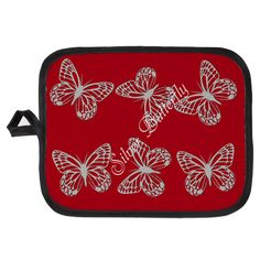 Silver Grey Butterfly Red Potholder, editable text, personalized gift