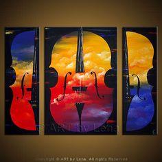 Double Bass - Original Music Art by Lena Karpinsky, http://www.artbylena.com/original-painting/468/double-bass.html
