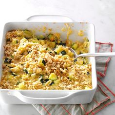 This casserole uses plenty of zucchini for a hearty fall side dish. For extra color, add fresh diced tomatoes.   Zucchini & Cheese Casserole Recipe from Taste of Home