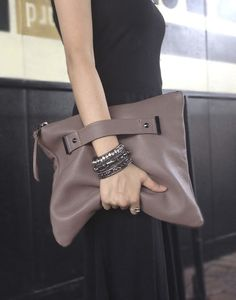 Leather clutch with handle strap foldover oversized pouch by AEHEE