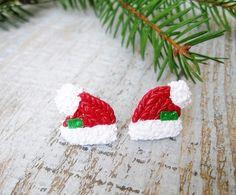 Stud Earrings – Santa's hat stud earrings merry Christmas gift – a unique product by IrenkaR on DaWanda