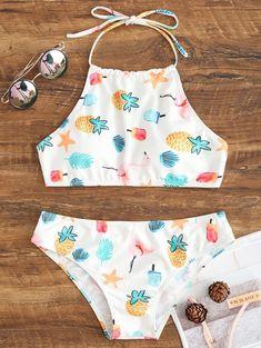 High Neck Halter Bikini Swimsuit – WHITE – Bikini swimsuit with high neckline and halterneck – WHITE – Bathing Suits For Teens, Summer Bathing Suits, Cute Bathing Suits, Halter Bikini, Bikini Swimwear, High Neck Bikini, Kids Swimwear, Bikini Beach, Cute Swimsuits
