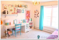 adorable desk area in tween room. white walls are so versatile!