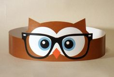 Hipster Owl Paper Crown Printable by PutACrownOnIt on Etsy