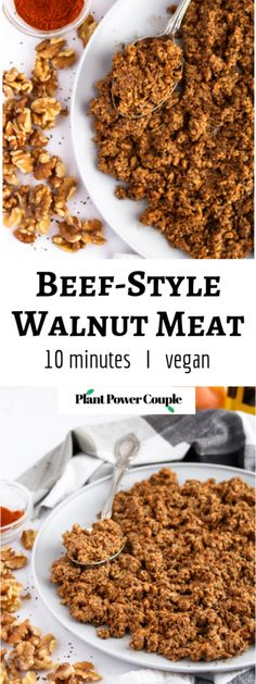 This spicy beef-style walnut meat is our go-to recipe for Taco Tuesday and beyon. - - This spicy beef-style walnut meat is our go-to recipe for Taco Tuesday and beyon. Vegan Meat Recipe, Raw Vegan Recipes, Vegan Foods, Vegan Dishes, Gourmet Recipes, Whole Food Recipes, Cooking Recipes, Vegan Ground Meat Recipe, Recipes With Vegetarian Meat