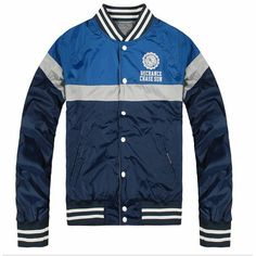 Double Wearing Splicing Colors Navy Varsity Jacket For Men