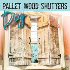 Kitchen Shutters, Farmhouse Shutters, Rustic Shutters, Window Shutters Inside, Wooden Window Shutters, Pallet Shutters, Pallet Wood, Diy Wood, Window Coverings