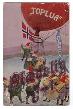 Nisse's in Hot Air Balloon~Merry Christmas~Band Playing Below~1907+~Gel Coated