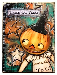 Created for Retro Cafe ART Gallery using  -paper cut words Trick or Treat -Collage Sheet Halloween -ATC durable Coffee Break backing