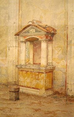 """Lararium of the House of Dioscuri at Pompeii"" (1902) - Water-colours on Pompeii by Luigi Bazzani (Bologna 1836-Rome 1927) - Naples Archaeol..."