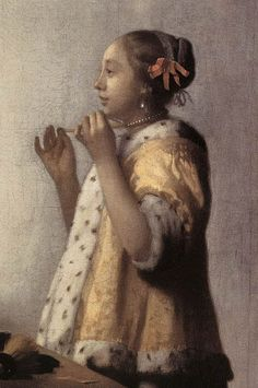 Woman with a Pearl Necklace [detail: 1] by Johannes Vermeer #art
