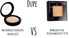 Maybelline Fit Me Pressed Powder is a dupe for MAC Mineralize Skinfinish Natural!