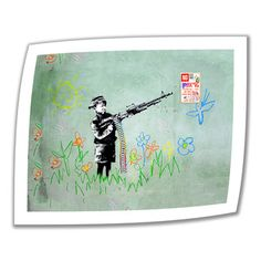 @Overstock.com - Artist: Banksy Title: Crayon Machine Gun Product type: Unwrapped, canvashttp://www.overstock.com/Home-Garden/Art-Wall-Banksy-Crayon-Machine-Gun-Unwrapped-Canvas/7824661/product.html?CID=214117 $28.99