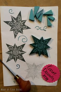 Carve December 2019/ Day 1- just for a STARt...😉🌟 Always wanted to have a swirly star- so I finally choose that one as a  kickoff... #CarveDecember; #CarveDecember2019; #christmasstamp; #starstamp; #christmasstarstamp; #xmas; #handcarvedrubberstamps; #handgeschnitztestempel; #diyrubberstamps;#linocut;#linolschnitt;#selbstgemachtestempel;#stempelselbermachen;#diystempel;#diystamps;#stempelselberschnitzen;