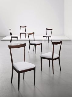 Ico Parisi; Stained Beech Dining Chairs, c1947.