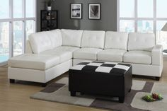 2 pc Cream bonded leather upholstered sectional sofa with drop down table cushion and reversible chaise. This set includes the 2 pc sectional sofa with reversible chaise and with tufted backs and seats, and a drop down table on the back of the center cush Sectional Sofa With Chaise, Leather Sectional Sofas, Sofa Couch, Leather Loveseat, Living Room Sectional, My Living Room, Sleeper Sofas, Sofa Set, White Sectional