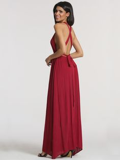 Wine Red Cross Back Maxi Dress 18.99