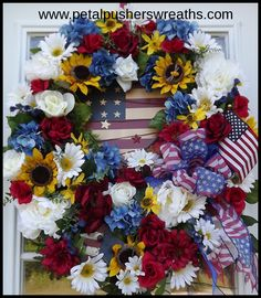 Beautiful 4th of July Wreath, Memorial Day Wreath--Patriotic Wreath for your front door!    http://www.petalpusherswreaths.com/Patriotic-Wreaths.html