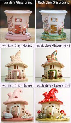 Honiglicht-Keramik - Home Fairy Garden Pots, Fairy Garden Houses, Paper Mache Crafts, Toilet Paper Roll Crafts, Clay Fairy House, Lantern Designs, Succulent Centerpieces, Clay Fairies, Cute Clay