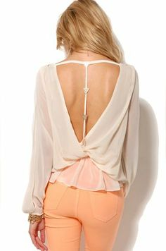 Open Back Draped Blouse in Cream