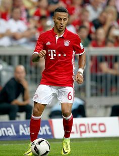 Thiago Alcantara of Bayern Muenchen runs with the ball during the Bundesliga match between Bayern Muenchen and Werder Bremen at Allianz Arena on...