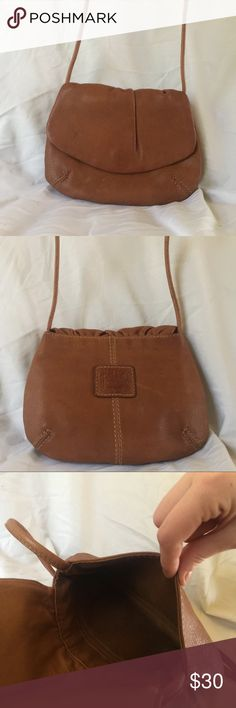 Vintage Fossil Envelope Crossbody in Brown Vintage - leather has faint watermarks reflected in price. Found thriftimg back in 2006. Lining is in excellent condition. Small magnetic closure. 8in W x 6.5in H x 1/2in D. Strap drop is 25in. Fossil Bags Crossbody Bags
