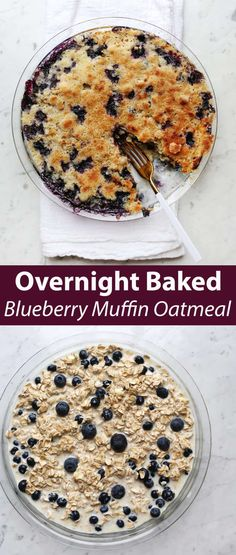 Overnight Baked Blueberry Muffin Oatmeal - A Beautiful Mess Baked Oatmeal Recipe With Blueberries, Blueberry Oatmeal Muffins, Blue Berry Muffins, Recipe With Oatmeal, Brunch Recipes, Dessert Recipes, Muffin Recipes, Free Recipes, Blueberry Recipes