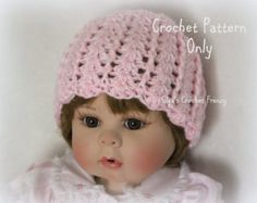 Baby Girl Hat Crochet Pattern, Beginner Skill Level, Size 0-3 Months, Crochet Shells Pattern , Quick to Make, Instant PDF Download