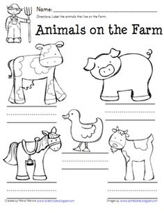 Unit 12 - Gg Goat (farm animals)-Farm animal labeling page - great for a farm unit! Farm Activities, Animal Activities, Classroom Activities, Preschool Farm, Physics Classroom, Farm Animal Crafts, Farm Animals, Farm Crafts, Kindergarten Writing