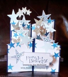 Simply Stars Stampin' Up! cascade card  using Sassy Salutaions by Sue McDonald