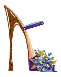 Fine Art Print Flower Shoes -Watercolor Painting Contemporary Modern Shoe Art Fashion Art Giclee Posters and Prints