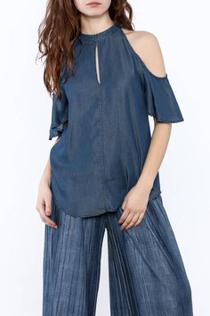 Short sleeve denim top with a cold shoulder, keyhole front and a button back closure.    Cold Shoulder Denim Top by 1250 c. Clothing - Tops - Blouses & Shirts Manhattan, New York City New York City