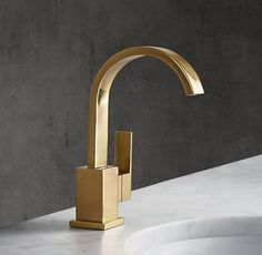RH Modern& Modern Single-Hole Faucet:With its squared edges and bull-nose finials, our Modern collection pares bath design down to elegant, elemental form. Modern Bathroom Faucets, Black Kitchen Faucets, Bathroom Hardware, Concrete Bathroom, White Bathrooms, Luxury Bathrooms, Master Bathrooms, Dream Bathrooms, Restoration Hardware Bathroom
