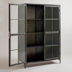 Metal Display Cabinet | World Market $899.00  storage behind check-in/bar?
