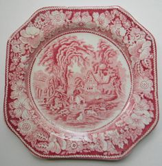 Red Transferware Square Plate Pastoral Midwinter Rural England Hunter Horse Dogs Sheep Cottage Peony