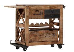 Der perfekte Barwagen für alle Fans des Industrial-Styles! Hochwertiges Mangoholz vereint mit stilistischen Elementen aus Metall verleihen dem Möbel seinen einzigartigen Charakter. Getränke, Snacks und Servietten finden hier ausreichend Platz - ein perfektes Serviermöbel!