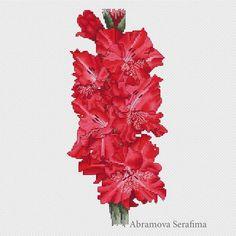 """Cross stitch design """"Red Gladiolus"""" #sa_stitch #sa_pattern #pattern"""