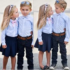 I want to dress Evan and Gigi like this on the first day of school when they get to go together! @ewkak & @stylebymax