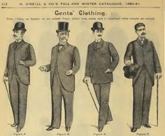 Late Victorian Era Gentlemen's Clothing - H.'s Fall and Winter Catalogue, Gents' Clothing Figure P - Single Breas. Victorian Mens Clothing, Victorian Mens Fashion, 1890s Fashion, Men's Fashion, Vintage Clothing, Fashion History, Gothic Fashion, Victorian Costume, Victorian Era