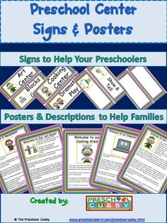 I created this packet specifically for these purposes! This preschool packet includes 14 Interest Center Posters and 22 Interest Center Label Signs for your classroom! I use Center Signs all year long and Center Posters at the beginning of the year, at open house, at parent conference time or any time families will be spending time in the classroom! Click here for more information on this packet!